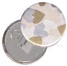 Flaschenöffner  Flaschenöffner-Rückseite mit Neodym-Magnet  59 mm  , Nepal Papier , Herzen weiß silber gold