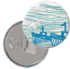 Flaschenöffner  Flaschenöffner-Rückseite mit Neodym-Magnet  59 mm  , Ozean blau silber beige