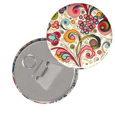 Flaschenöffner  Flaschenöffner-Rückseite mit Neodym-Magnet  59 mm  Florentiner Papier kleine Ornamente bunt gold