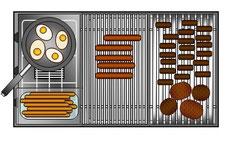 Kochstelle + 2 Grillflächen
