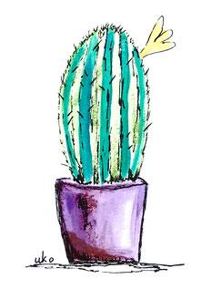 Malvorlage UKo-Art verliebter Igel mit Kaktus