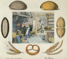 Illustration d'un manuel scolaire - Le boulanger
