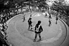 Girls Skate Lessons at Mekroyan Fountain, Kabul, Afghanistan in 2008