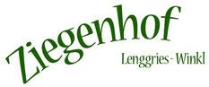 Logo in grüner Schrift Ziegenhof lenggries Winkl