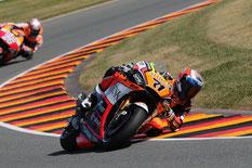 Ersatzfahrer Claudio Corti im Einsatz bei der MotoGP am Sachsenring