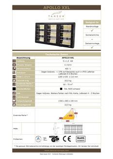 Datenblatt Infrarotheizung APOLLO 2 kW