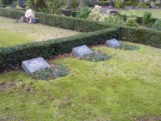 Grabanlage für den sowjetischen Kriegsgefangenen Leonid Loskutow (119671 XB), gestorben am 20. März 1944 im Arbeitskommando 7196 Schwinge, einen polnischen Zwangsarbeiter und ein Zwangsarbeiterkind. Foto: M. Quelle