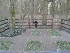 Auf dieser Grabanlage im Wald bei Hepstedt ruhen fünf verstorbene sowjetische Kriegsgefangene. Foto: R. Sperling