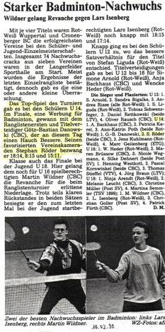 WZ vom 10.02.1990 Wuppertaler Stadtmeisterschaften Jugend Einzel