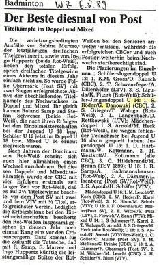 WZ vom 06.05.1989 1989 Wuppertaler Stadtmeisterschaften Jugend Doppel
