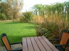 Blick von der Terrasse zum Garten im Oktober.