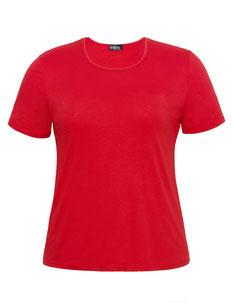 rote Damen T-Shirt in bequemer Passform , mollige Frauen
