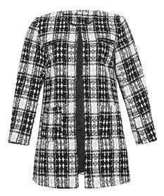 eleganter Plus Size Damenjacke in großen Größen mit Einfassungen in Lederimitat, schwarz