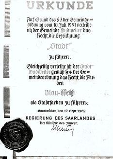 dudweiler, stadtwerdung, urkunde, 12.09.1962