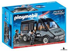 """Bei der Bestellung im Onlineshop der-Wegweiser erhalten Sie das Playmobil Paket 6043 """"Polizei- Mannschaftswagen mit Licht und Sound""""."""