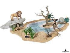 Im Paket Schleich 42258 ist ein Wasserloch mit der Grösse von 38x55x19cm, ein Löwe, ein Zebra, ein Schimpanse, ein Skorpion, ein Tausendfüssler, eine Schlange, ein Erdmännchen, 9 Pflanzen, ein Baum, 2 Steine, eine Erdhöhle und weiteres Zubehör enthalten.