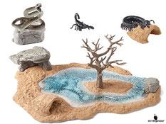 Die Besonderheit im Schleich Paket 42258 sind, dass sich die Wasserstelle vielfach umgestalten lässt, damit du immer wieder Wildlife-Abenteuer spielen kannst