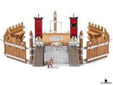 """Im Paket Schleich 42157 ist eine Kampfarena, eine Figur """"Knurrom"""" (der knorriger Zwerg), sechs Schutzwände, vier Eisentore, eine Eisentür, ein Henkersturm und zwei Fahnen enthalten."""