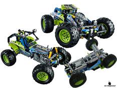 Die Besonderheit im Lego Paket 42037 ist, dass man ein Rennauto oder ein Off-Roader bauen kann.