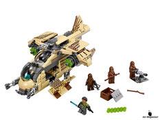 Im Paket Lego 75084 sind 570 Einzelteile, 4 Minifiguren, ein Wulffwarro, ein Kanan Jarrus, 2 Wookiees, ein Kanan Jarrus Leuchtschwert, ein Blaster, eine Wookiee-Kanone und ein Wookiee-Bowcaster enthalten.