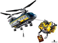 Die Besonderheiten im Lego Paket 60093 sind die drehbaren Rotoren, eine funktionstüchtige Seilwinde und ein aufklappbarer Laderaum.