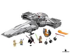 Im Paket Lego 75096 sind 662 Einzelteile, 5 Minifiguren, Darth Maul, Watto, Anakin Skywalker, Qui-gon Jinn und R2-D2 enthalten.