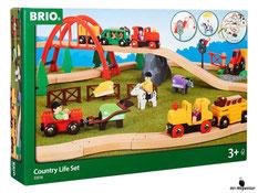 Bei der Bestellung im Onlineshop der-Wegweiser erhalten Sie ein grosses Bahn Farmset Country 79-teilig vom Hersteller Brio.