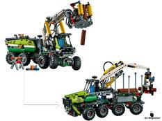 Die Besonderheit im Lego Paket 42080 ist, dass man eine Forstmaschine oder ein Holzlader bauen kann.