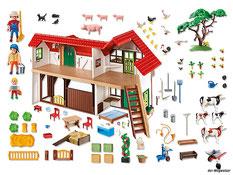 Im Paket Playmobil 6120 ist ein Bauernhofgebäude mit Bauer, Bäuerin, Mädchen, 24 Tieren und vielem Zubehör für ein Bauernhof,  wie Zaun, Baum, Stroh, Mistgabel,  Heuballen und noch weiterem Zubehör enthalten.