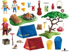 Im Paket Playmobil 6668 enthalten sind zwei Zelte mit einer Feuerstelle und sehr viel Zubehör für das Campieren.