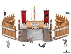 """Im Paket Schleich 42273 ist eine Kampfarena, Figur """"Knurrom"""" (der knorriger Zwerg), sechs Schutzwände, vier Eisentore, eine Eisentür, ein Henkersturm, zwei Fahnen , zwei Ritterfiguren, zwei Kerkertiere und ein Flaggenset enthalten."""