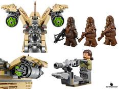 Die Besonderheiten im Lego Paket 75084 sind das aufklappbare Cockpit, die beweglichen Frontkanonen, die hochschwenkbaren Kanonen auf dem Dach, der Schnellfeuer Shooter, der bewegliche Flügel und die aufklappbare Heckladeraumrampe.