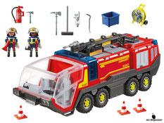 Im Paket Playmobil 5337 ist enthalten ein Feuerwehrfahrzeug, zwei Feuerwehrmänner, drei Pylonen, ein Feuerlöscher, zwei Äxte, ein Ventilator, ein Eimer und ein Besen