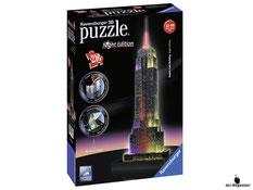 """Bei der Bestellung im Onlineshop der-Wegweiser erhalten Sie das Ravensburger Paket 12566 """"Empire State Building bei Nacht 3D""""."""