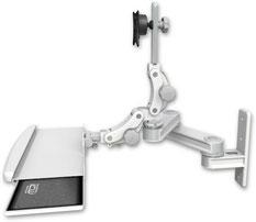 AST2P1212-WT2-KPB : ロングモニターアーム ウォールマウント 壁面固定 ディスプレイキーボード用アーム