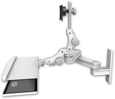 AST2P1212-WT2-KPB : 壁面固定ロングアーム ディスプレイキーボード用