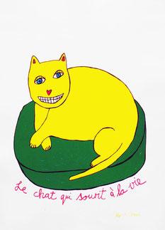 «Le chat qui sourit à la vie» Siebdruck 3 Farben