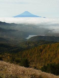 雷岩手前から大菩薩湖と富士山