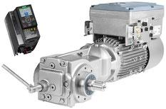 SINAMICS G120C, FSB, IOP-2 (oben links) und SIMOGEAR EHB Kegelradgetriebemotor inkl. Motorintegrierter Frequenzumrichter SINAMICS G110M, Schrägansicht (rechts) © Siemens AG 2020, Alle Rechte vorbehalten