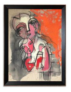 Tendresse Fusain, encre et acrylique sur toile - Janvier 2019 - 50/70 cm