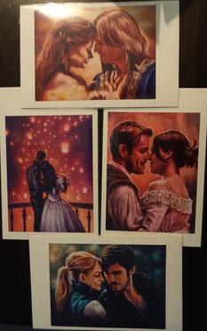 1 von 4 romantischen Kunstdrucken zu Once Upon a Time (Belle & Rumpelstilzchen, Snow & Charming, Regina & Robin, Emma & Hook), ArtBySvenja, 3,20 €