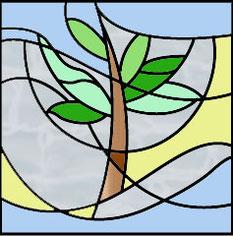 森と風のステンドグラス