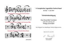 Zertifikat Europäisches Jugendchorfestival Basel
