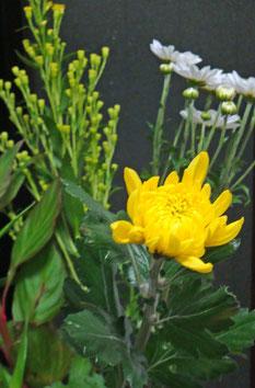 玄関にお花をそえました…もちろん幸せを呼ぶ、黄色を入れて♪