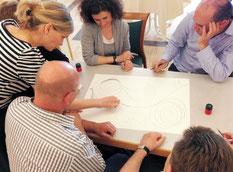 integrale Theorie, integrales Modell; Führungskräfte vor einem Papier bei der Arbeit