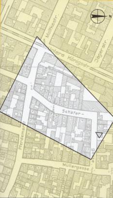 Stadtplan 1943. Die Schäfergasse 28/30 befindet sich im grau markierten Bereich. Beide Abbildungen sind entnommen aus Helmut Brier/Werner Dettman, Kassel. Veränderungen einer Stadt, Fuldabrück 1986.