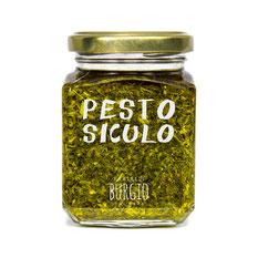 Pesto artesanal de Sicilia. Sabor intenso. Natural y sin conservantes en bote de 212gr (Burgio-Sicilia) 9,50€