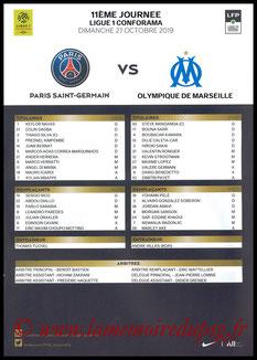 Feuille de match  PSG-Marseille  2019-20