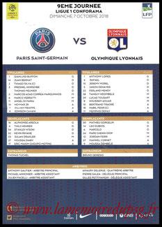 Feuille de match  PSG-Lyon  2018-19