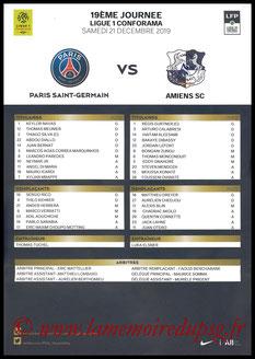 Feuille de match  PSG-Amiens  2019-20